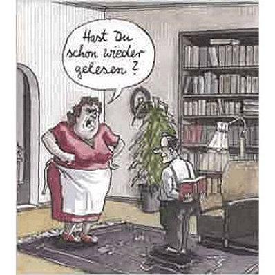 Cartoonkarte »Hast du schon wieder gelesen?«