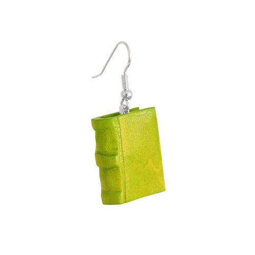 Holzohrring »Book«, grün
