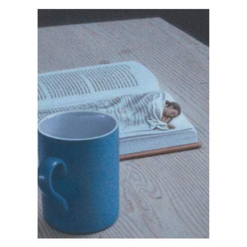 Kunstpostkarte »Sie, nachts mit Buch«