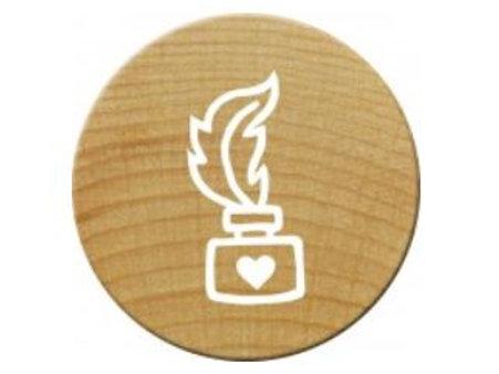 ExLibris-Stempel »Tintenfässchen«, rund, klein