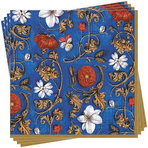 Servietten »Rote und weiße Blüten auf blauem Grund«