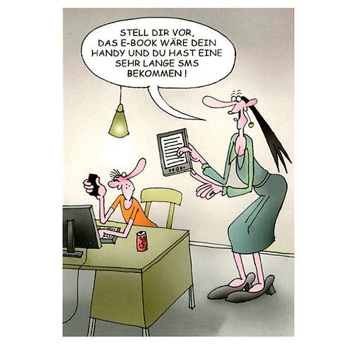 Cartoonkarte »Sehr lange SMS«