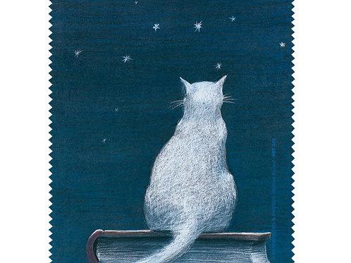 Brillenputztuch »Katze auf Buch«