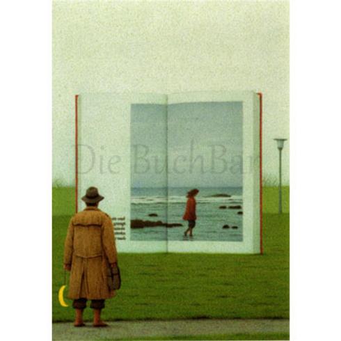 Kunstpostkarte »Auf dem Weg zu den Büchern«