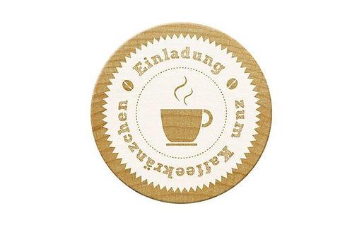 ExLibris-Stempel »Einladung zum Kaffeekränzchen«, rund