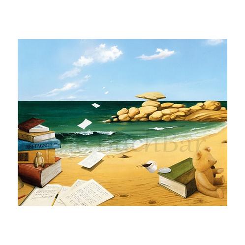 Kunstpostkarte »Bücher am Strand«