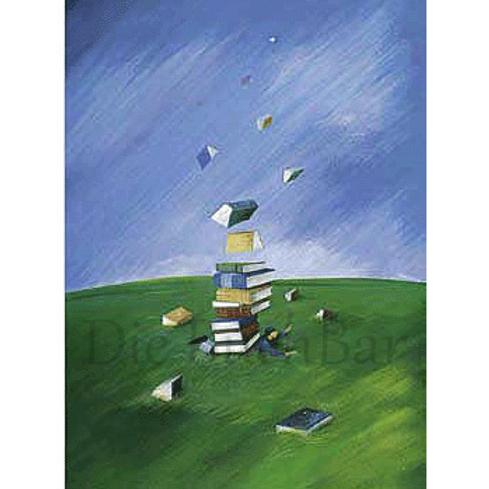 Kunstpostkarte »Bücherturm XXL«