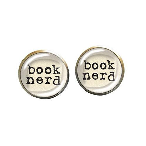 Book-Nerd-Ohrstecker, weiß