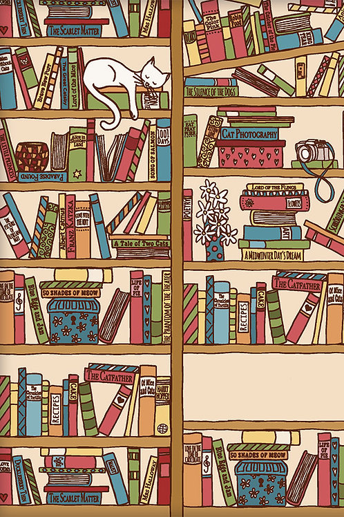 Kladde »Katze im Bücherregal« (A5)