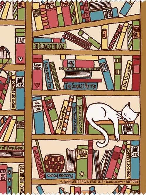 Brillenputztuch »Katze im Bücherregal«