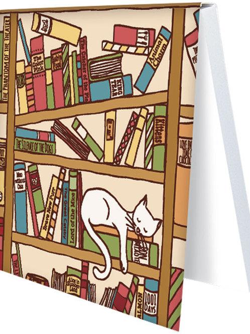 Klebezettel »Katze im Bücherregal«