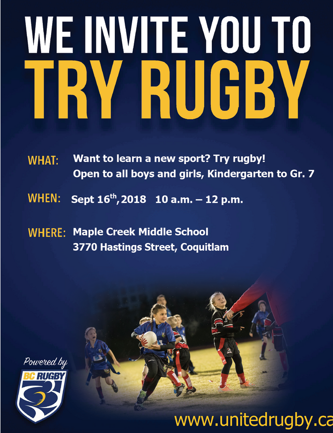 We Invite You To TRY MINI RUGBY on September 16th, 2018