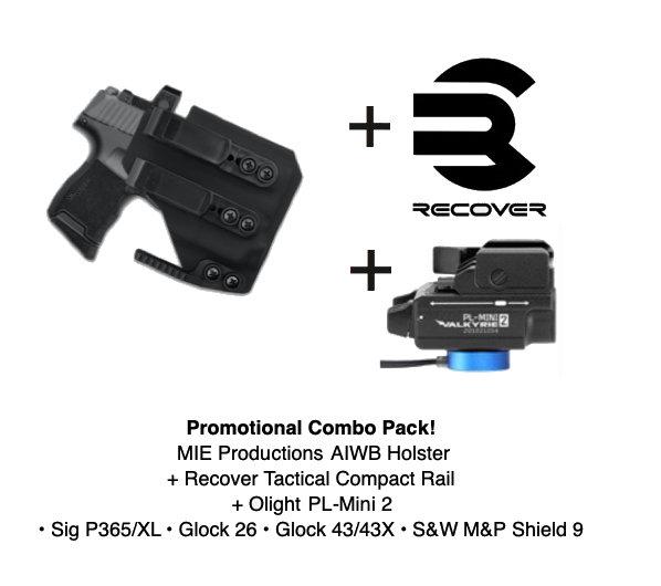 Combo Pack! Artemis AIWB Holster + PL-Mini 2 + Recover Tactical Rail