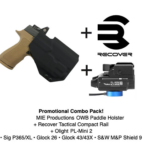 Combo Pack! OWB Paddle Holster + Recover Tactical Compact Rail + PL-Mini 2