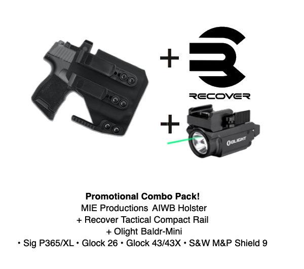 Combo Pack! Artemis AIWB Holster + Baldr Mini + Recover Tactical Rail