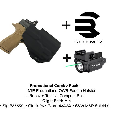 Combo Pack! Boreas OWB Paddle Holster + Baldr Mini + Recover Tactical Rail