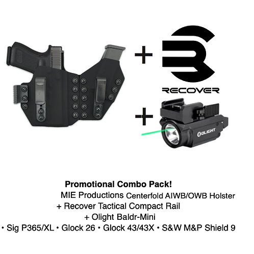 Combo Pack! Centerfold AIWB Holster + Recover Tactical Compact Rail + Baldr Mini
