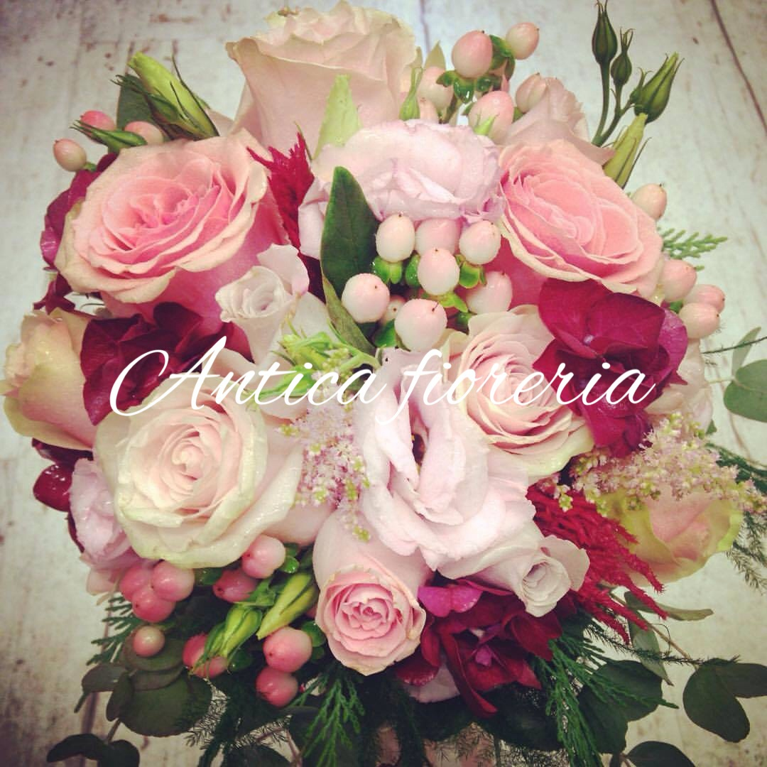 bouquet sposa rosa e bordeaux