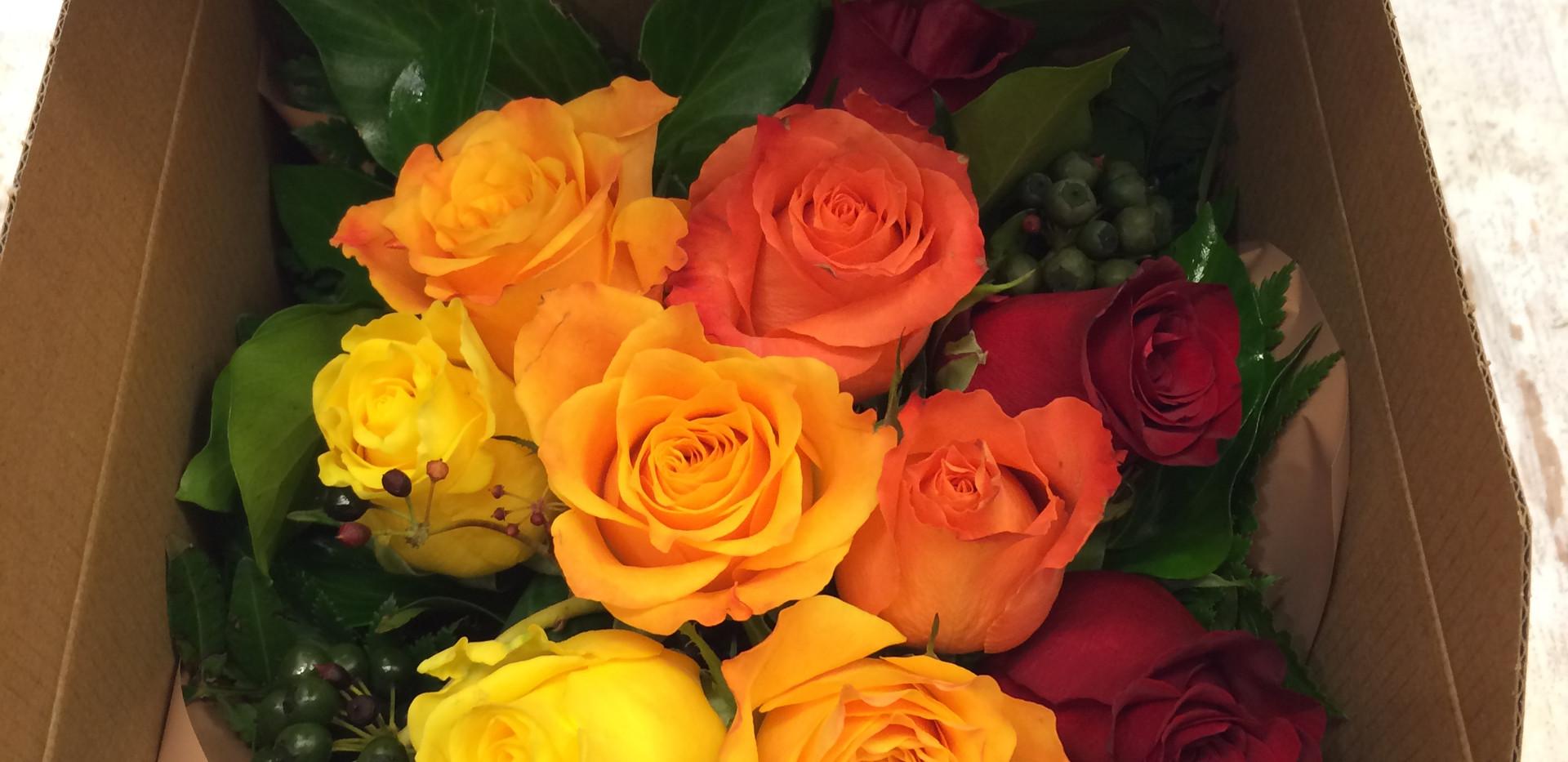 Scatola di fiori freschi