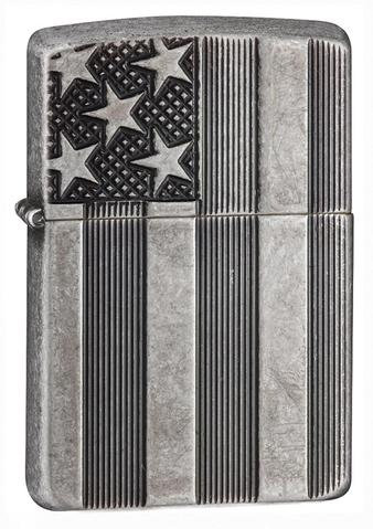 U.S FLAG ARMOR ANTQ SILVER PLATE