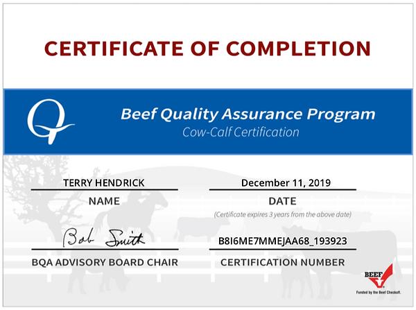 Beef Quality Assurance LMS - Certificati