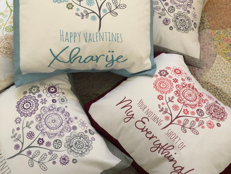 Valentine prints on fabric Hearts Bloom