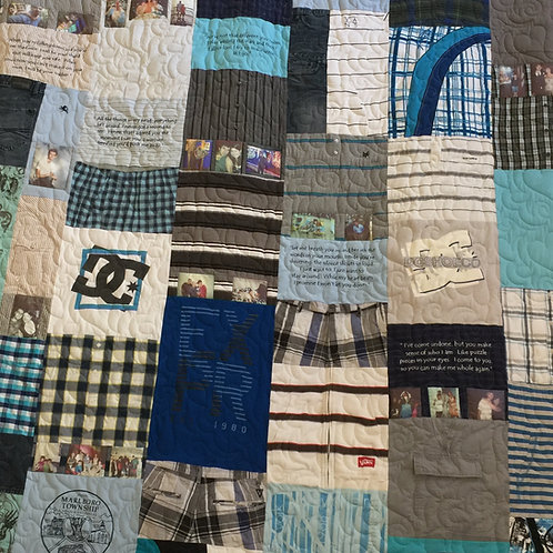 Mosaic Style Memorial Quilt with Embroidery and Photos