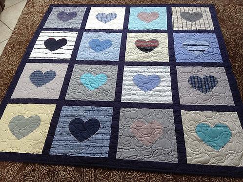 Heart Applique Memorial Quilt