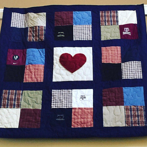 Patchwork sashing with center Heart Applique