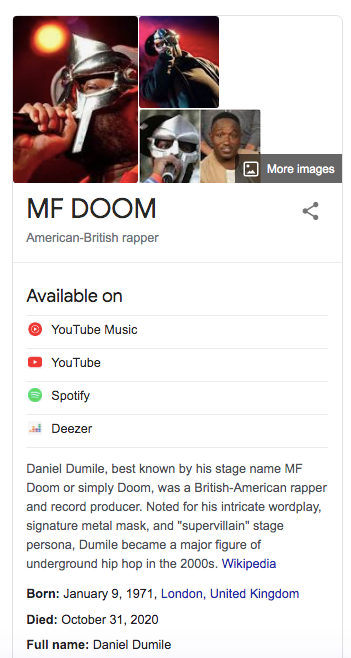 MF DOOM knowledge panel on Google