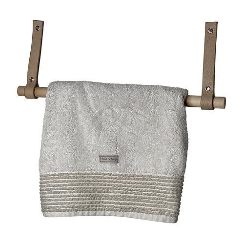 Handtuchhalter 50cm Buchenholz und Echtleder