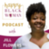 happy black woman podcas badge_feat JILL