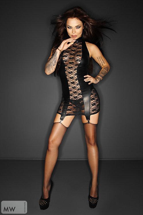 Black dress with garter belt