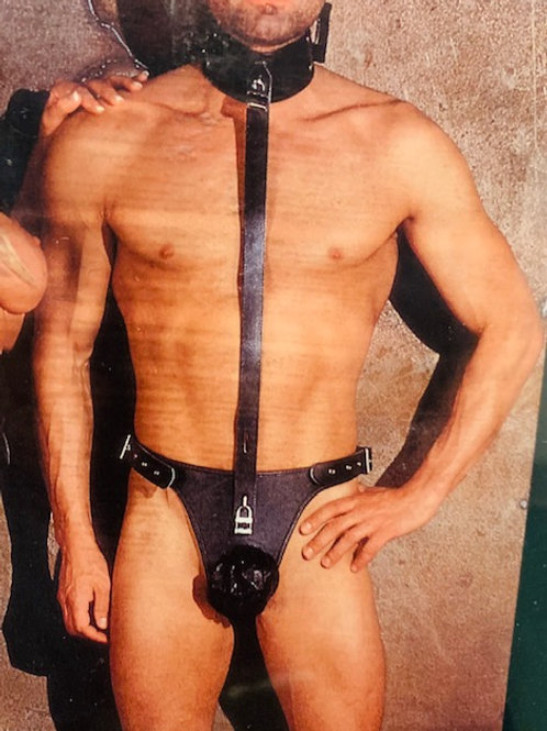 Leather Chastity Harness for Men.