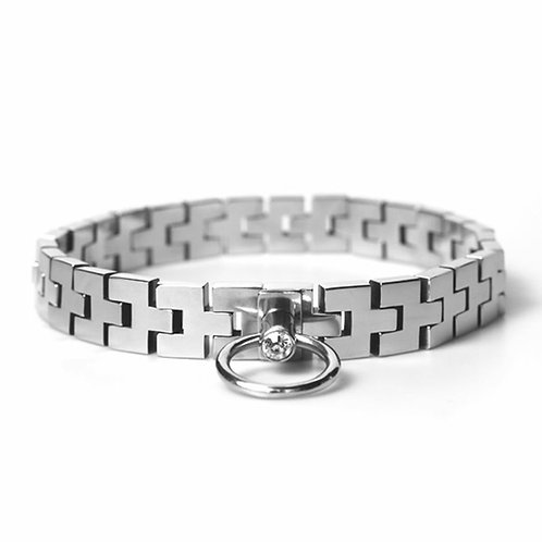 Stainless Steel Watch Band Collar with Gem Lock.