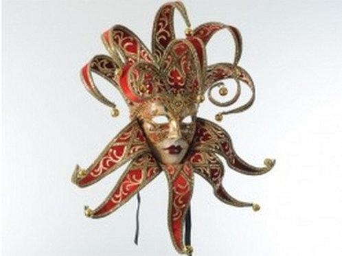 Jester Mask Red Velvet ( wall mount )