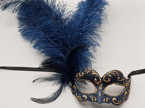 Half mask with blue feathers