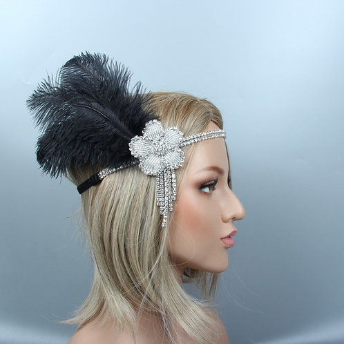 Black Feather Headband Flapper