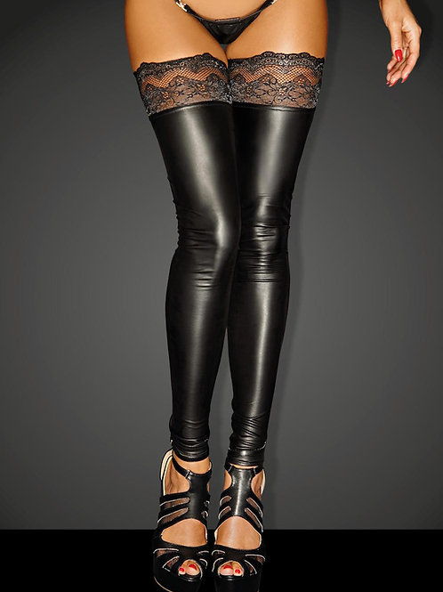 Noir Handmade Power Wet Look Black Footless Lace Top Hold Up Stockings