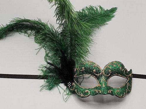 Venetian feather mask in green