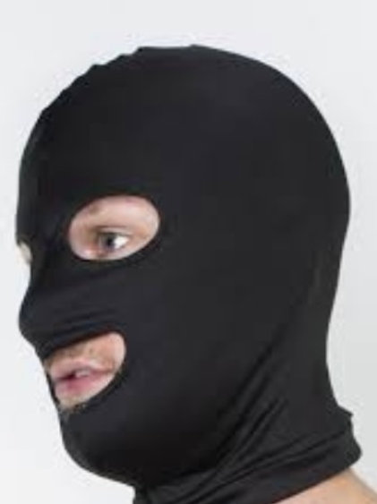 Lycra Hood with open mouth and eyes in Black.