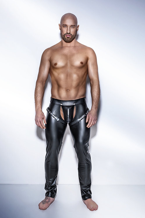 Black Powerwetlook pants with harness