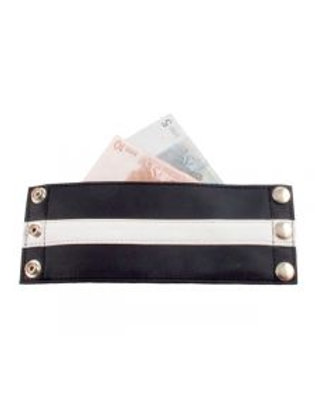 Leather Zip Wrist Wallet with White Stripe.