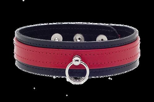 Leather Bondage Collar Black/Red