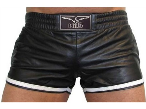 Mister B Leather Sport Shorts White Stripe