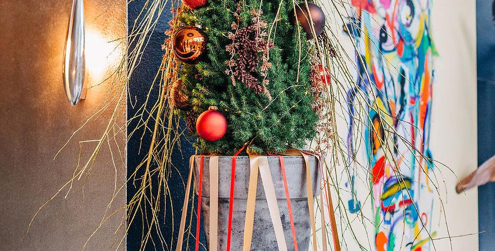 Echte kerstboom in pot voor op zuil