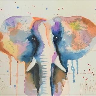 Eléphant à l'aquarelle (adulte)