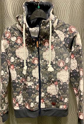 Sweat-Jacke mit Blumenmuster rosa-grau