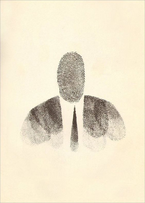self portrait by Saul Steinberg.ink and fingerprint.1955.