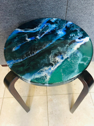 SOLD side table Emerald ocean